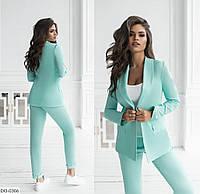 Летний женский брючный костюм с пиджаком из льна арт 2191