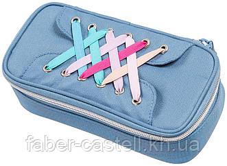 Пенал тканевый Schneiders Walker Pencil Box Laces, на змейке без наполнения, цвет светло-синий, 49614-071