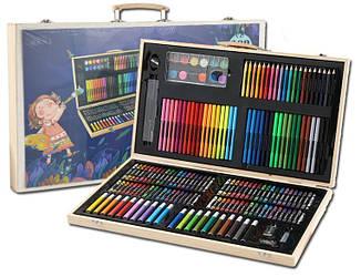 Набор для детского творчества в деревянном чемодане из 208 предметов