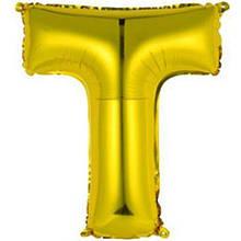 """Фольгована кулька буква """"Т"""" золотий 16"""""""