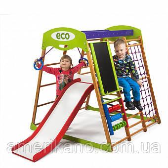 Детский спортивный комплекс для дома деревянный с горкой и кольцами. Карамелька Plus 3