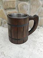 Пивной бокал,кружка тёмный из дерева 0,5л