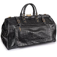 Саквояж кожаный мужской, сумка дорожная кожаная черная Desisan