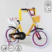 """Велосипед 16"""" дюймов 2-х колёсный 1675 """"CORSO"""" (1) новый ручной тормоз, звоночек, кресло для куклы, корзинка, доп. колеса, СОБРАННЫЙ НА 75% в коробке"""