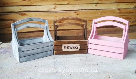 Ящики, кашпоз дерева  для флористики та декору 2 шт набір