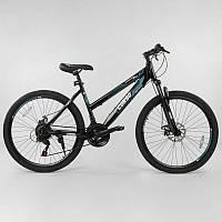 """Велосипед Спортивный CORSO 26""""дюймов 56208 BLACK / LIGHT BLUE (1) рама металлическая 16'', 21 скорость, собран на 75%"""