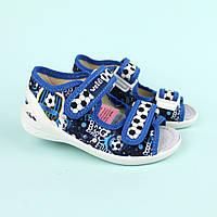 Открытые босоножки с рисунком футбол на мальчика текстильная обувь тм Waldi размер 23,30