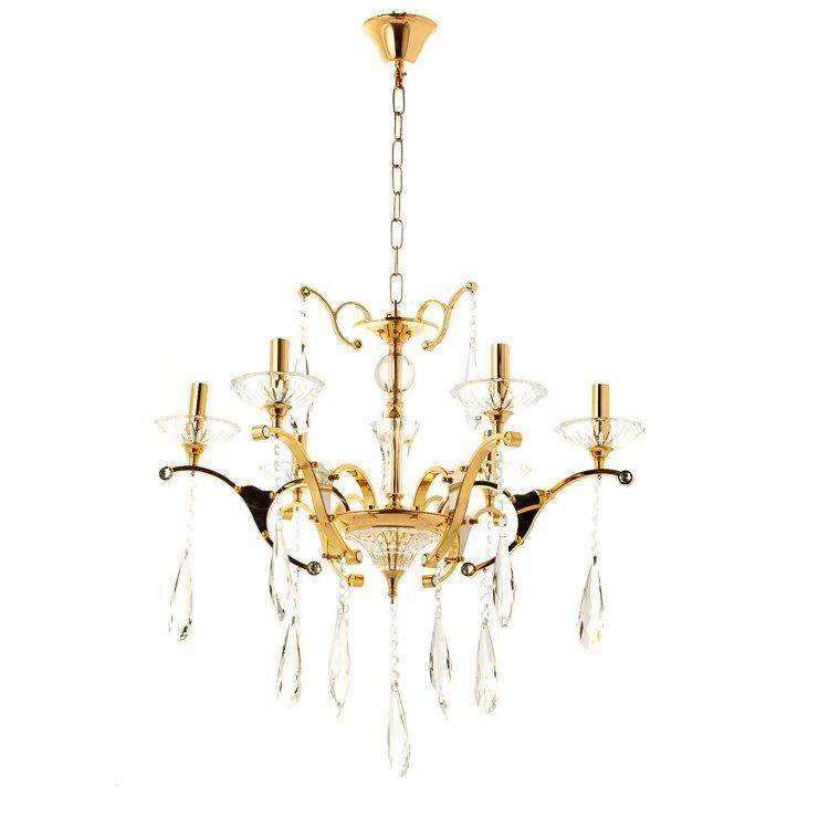 Люстра класична з прозорим декором SLAVIA OU016/6/gold