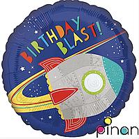Фольгированный шар 18 Pinan Космос С днем рождения, ракета, 45 см