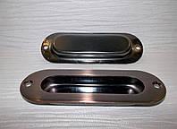 Ручки врезные на раздв. двери 120 х 40 медь