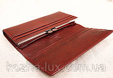 Кошелек женский кожаный бордовый, натуральная кожа, фото 3