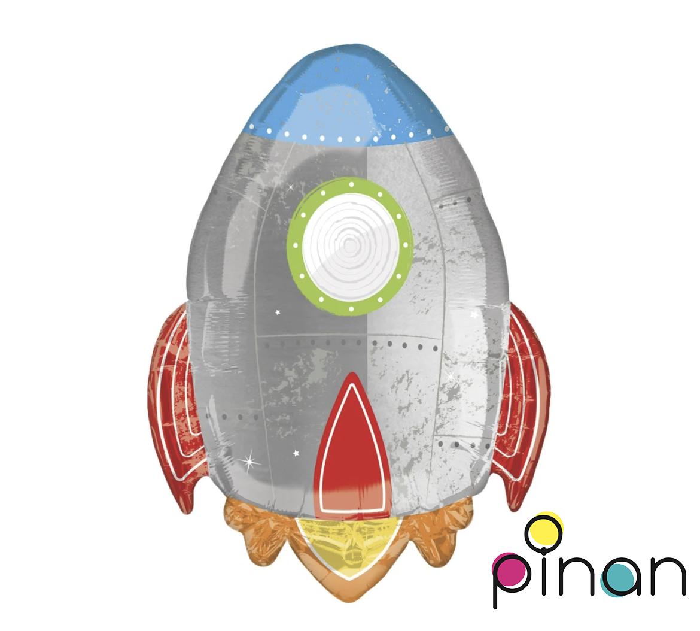 Фольгированный шар 30' Pinan Космос Ракета белая в упаковке, 76 см