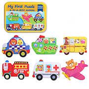 Пазл для малышей 6 в 1 Транспорт. Машины помощники в металлической коробке