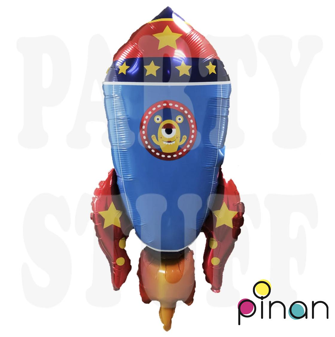 Фольгированный шар 35' Pinan Космос Ракета синяя, 88 см