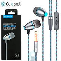 Наушники с микрофоном Celebrat C3 синие