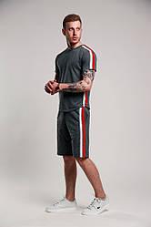 Мужской комплект:футболка и шорты серого цвета
