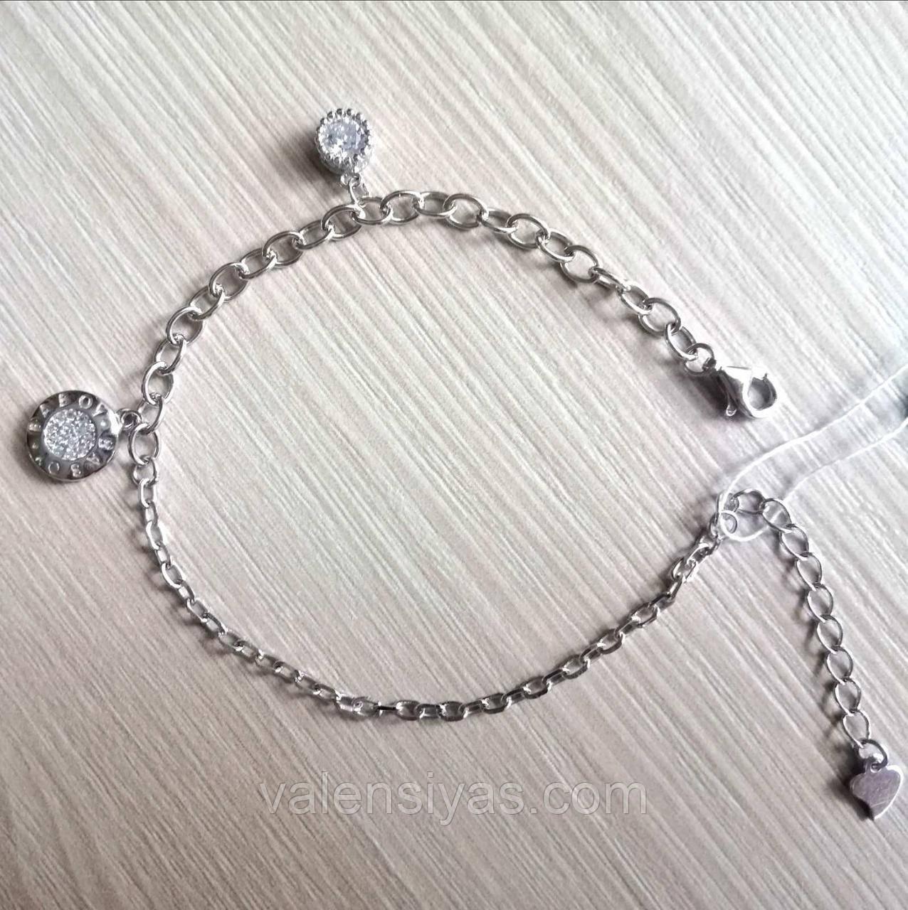 Модний срібний браслет з підвісками