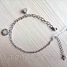 Модный серебряный браслет с подвесками