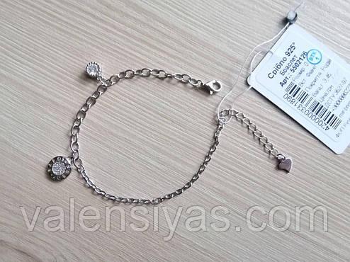 Модний срібний браслет з підвісками, фото 2