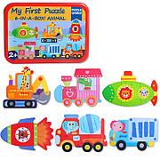 Первые детские пазлы 6 в 1 My first puzzle Транспорт в металлической коробочке