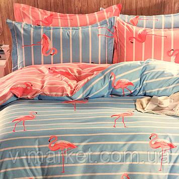 """""""Фламинго"""" постельное белье 3D эффект полуторный размер, 160/220"""