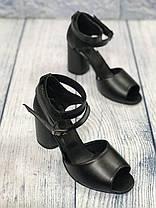Черные стильные босоножки на каблуке 8 см каблук, кожа или замша пошив размеры 36-40, фото 2