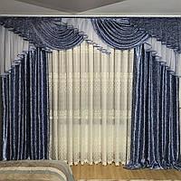 Шикарный комплект штор с ламбрекеном недорого, фото 1