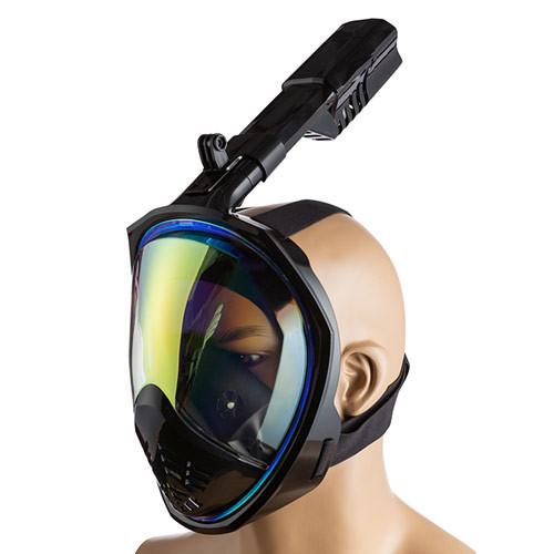 Маска полнолицевая р L/XL для плавания,зеркалка, черный.