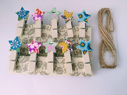 Міні прищіпки для декору Морські зірки 10 штук