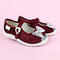 Бордові велюрові тапочки на дівчинку дитяча текстильна взуття тм Waldi розмір 21,22,24