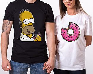"""Парные футболки (белая и чёрная) """"Гомер и пончик"""" (частичная, или полная предоплата)"""