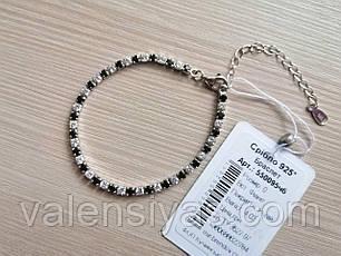 Серебряный браслет с белыми и черными фианитами, фото 3