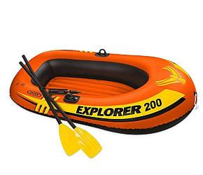 Полутораместная надувная лодка Intex, Explorer 200 185х94 cм, с веслами и насосом
