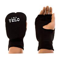 Накладки, перчатки Velo удлиненные, х/б, эластан, S черный..