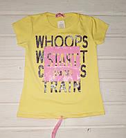 Футболка для девочки желтая Размеры  116