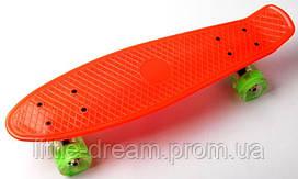 Скейт Penny Boarde Оранжевый. Светящиеся колеса