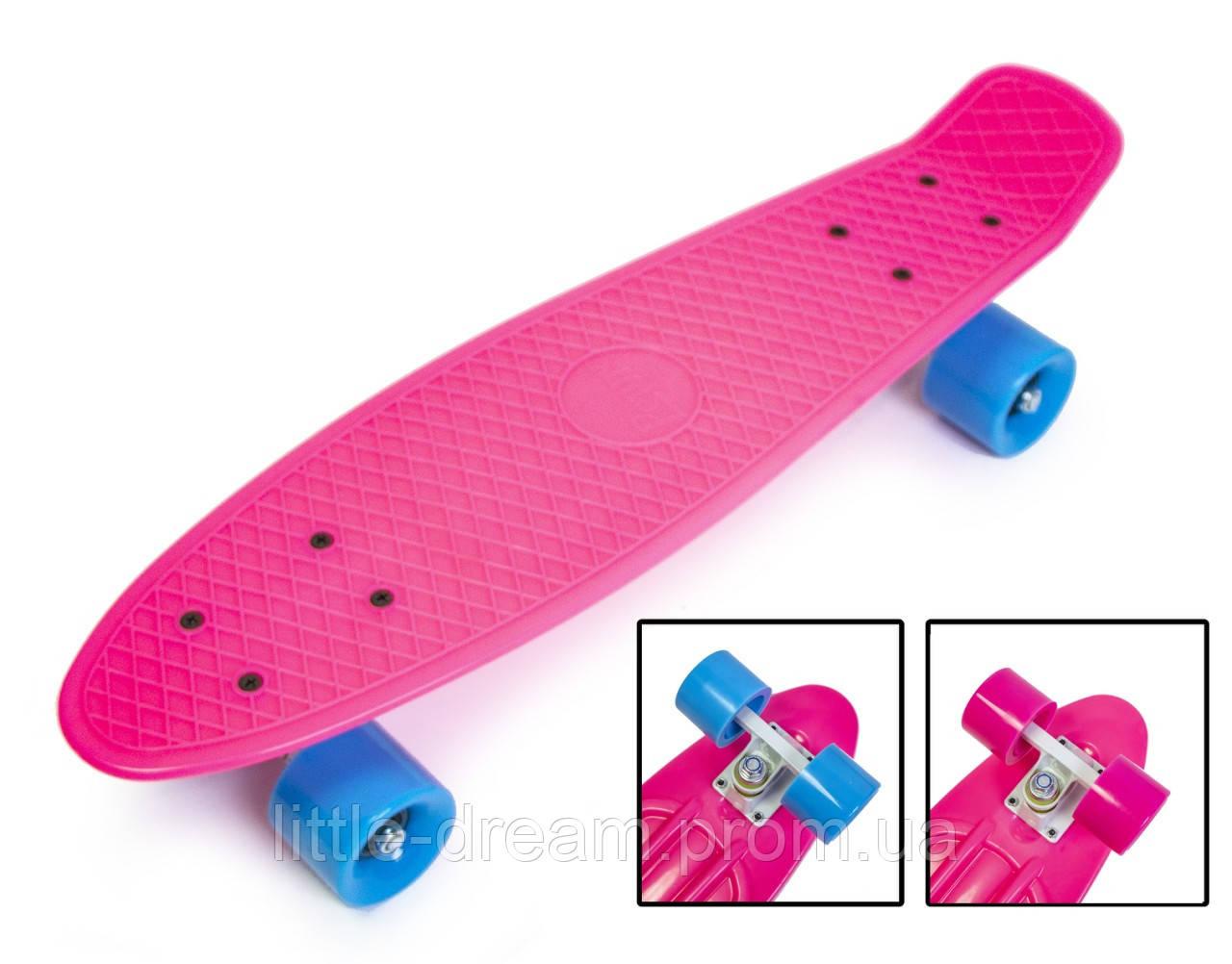 Пенниборд Penny Board. Малиновый цвет. Матовые колеса.