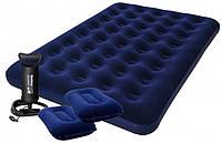 Двуспальный надувной матрас Bestway 67374 (203х152х22 см.) +2 подушки+ насос