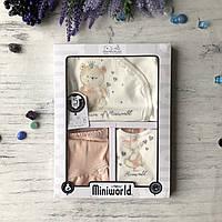 Крестильный костюм, подарочный набор на девочку Miniworld 1. Размер 62 см (1-3 мес)
