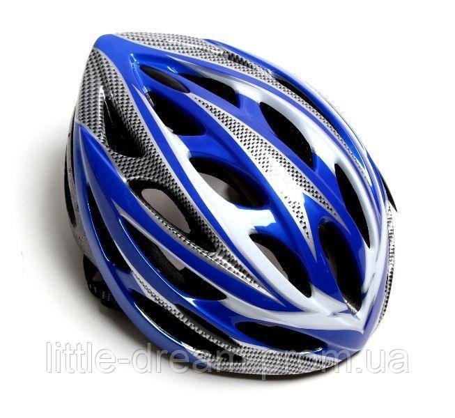 Шлем велосипедный с регулировкой. Синий цвет.