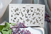 "Скринька для грошей на весілля з фанери ""Метелики"", Ручна робота, БІЛА, з замочком та ключем, 30*20*20см"