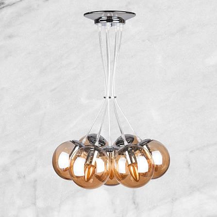 Серебряная люстра на семь стеклянных кофейных шаров, фото 2
