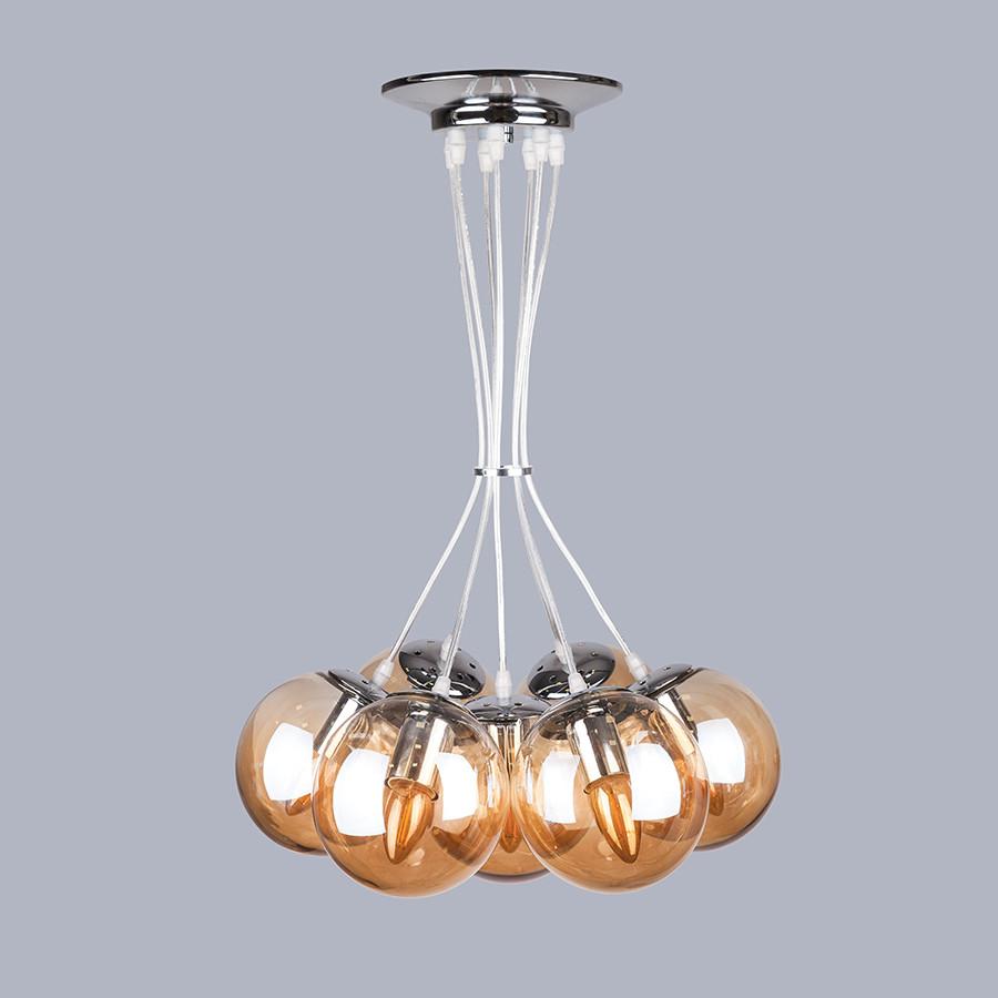 Серебряная люстра на семь стеклянных кофейных шаров