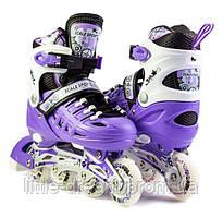Ролики детские ( роликовые коньки ) с подсветкой Scale Sports (США) Фиолетовые , размер 29-33, 34-37, 38-42
