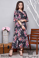 Женское платье на запах с цветочным принтом 48-50,52-54,56-58,60-62