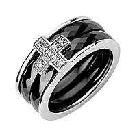 Серебряное кольцо Крестик с черной керамикой и фианитами 000130357 17 размер