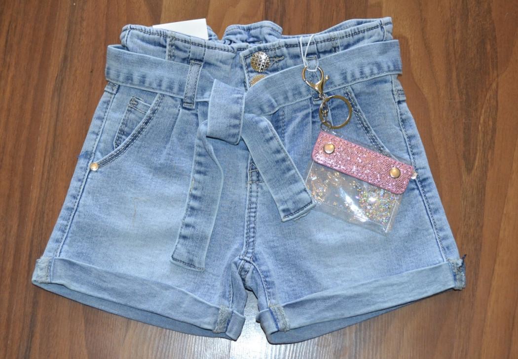 {есть:16 лет,6 лет} Джинсовые шорты Mom с кошельком для девочек S&D, 6-16 лет. Артикул: DT213