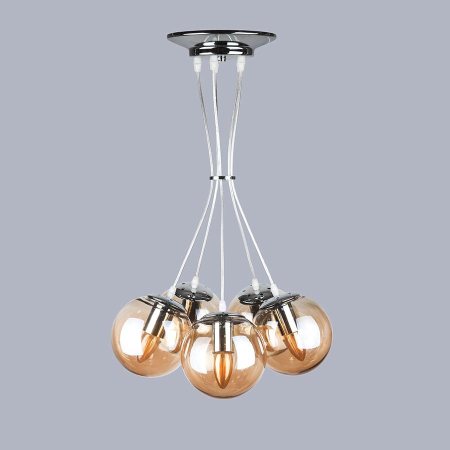 Серебряная люстра на пять стеклянных кофейных шаров