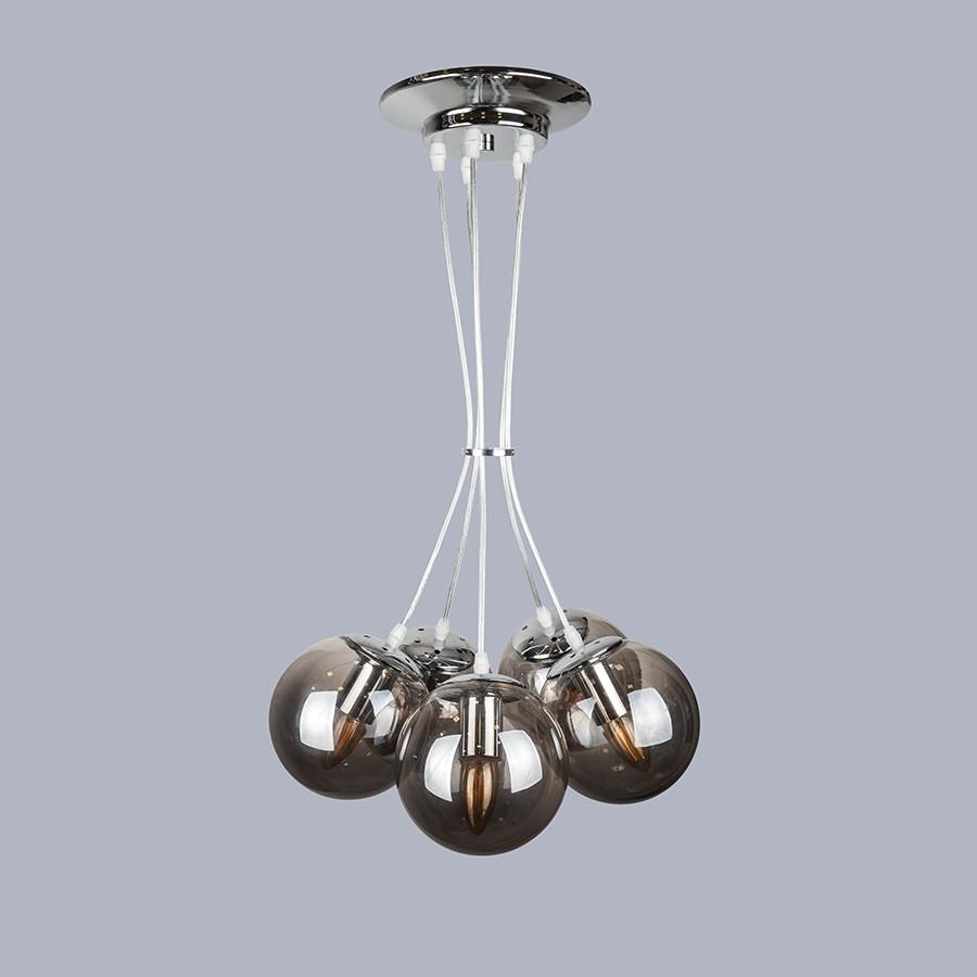 Серебряная люстра на пять чёрных шаров