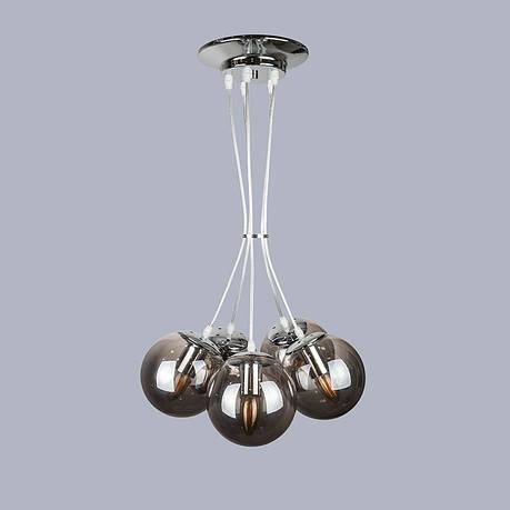 Серебряная люстра на пять чёрных шаров, фото 2